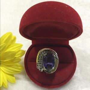NEW 925 SS and 10k gold - Purple Ring Set